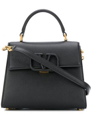 Черная сумка-тоут круглая на молнии с карманами Valentino
