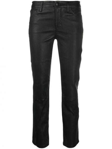 Кожаные брючные черные укороченные брюки с поясом J Brand