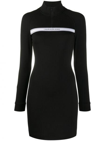 Черное приталенное платье мини с вырезом на молнии Calvin Klein Jeans