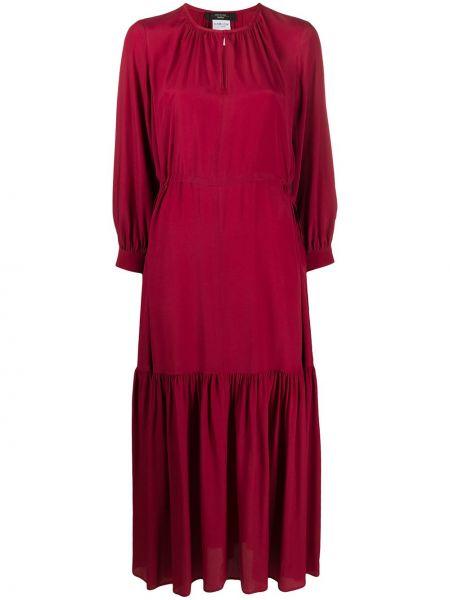 Красное шелковое платье с вырезом круглое Weekend Max Mara