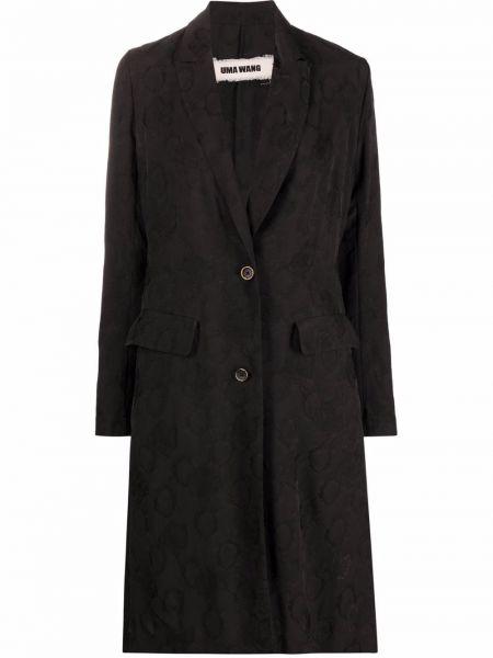 Прямое черное длинное пальто на пуговицах Uma Wang