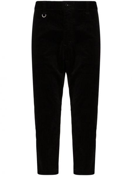 Черные прямые брюки пэчворк с карманами новогодние Sophnet.