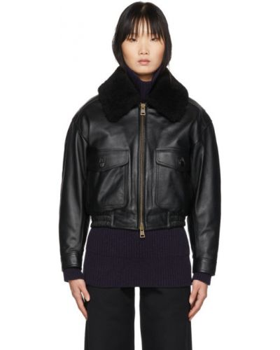 Черная длинная куртка двусторонняя с манжетами на пуговицах Ami Alexandre Mattiussi