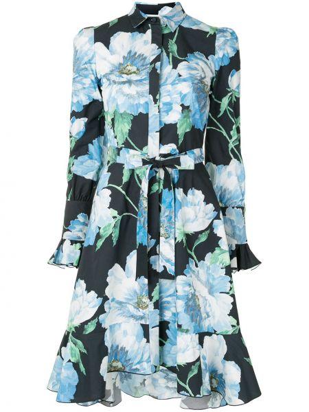 С рукавами синее платье макси с воротником Marchesa