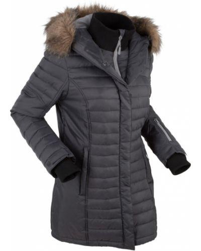 Куртка с капюшоном стеганая длинная Bonprix
