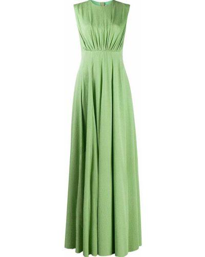 Зеленое вечернее платье с оборками без рукавов с вырезом Emilia Wickstead
