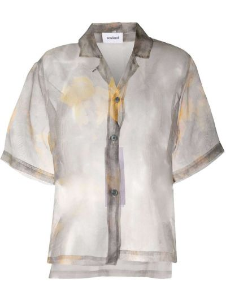 С рукавами серая классическая рубашка с воротником из органзы Soulland