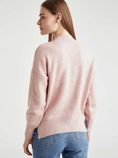 Акриловый розовый свитер с воротником Defacto