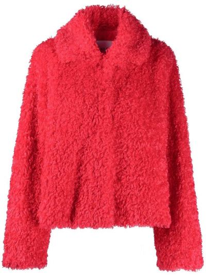 С рукавами красная короткая куртка с воротником Stand Studio