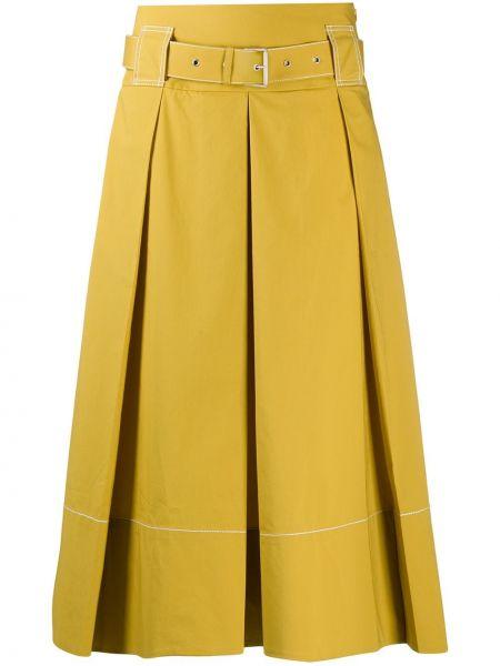 Ватная хлопковая желтая плиссированная юбка стрейч Piazza Sempione