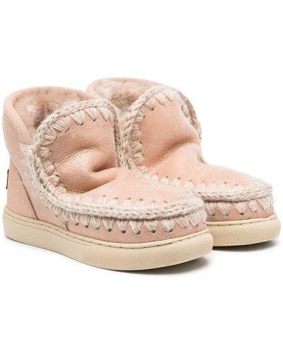 Розовые ботинки из овчины с подкладкой Mou Kids