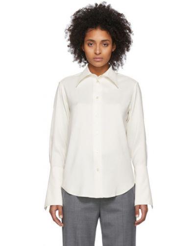 Бежевая рубашка с воротником с манжетами из вискозы Studio Nicholson