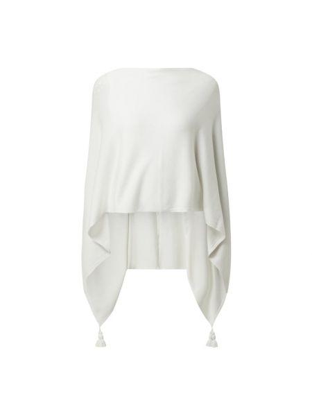 Biały ponczo z wiskozy asymetryczny Comma