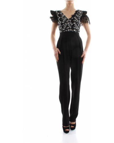 Czarny garnitur slim elegancki z dekoltem w serek Pinko
