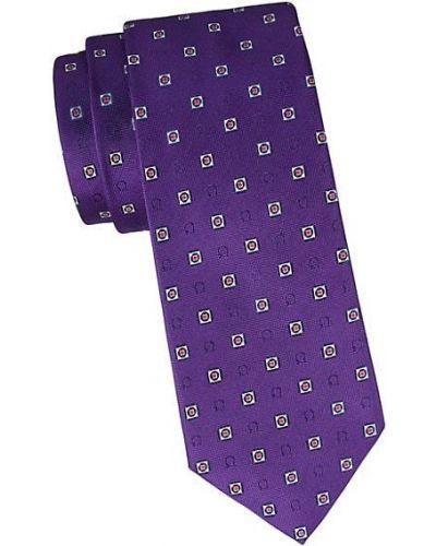 Fioletowy krawat z jedwabiu z haftem Salvatore Ferragamo
