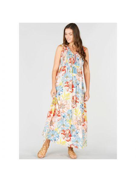 Платье макси с цветочным принтом с V-образным вырезом Rene Derhy