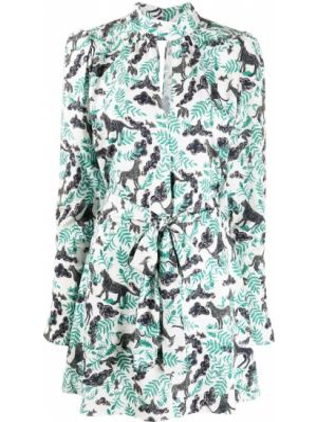 Платье мини на пуговицах с цветочным принтом Saloni