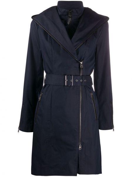 С рукавами коралловое длинное пальто с воротником с поясом Mackage