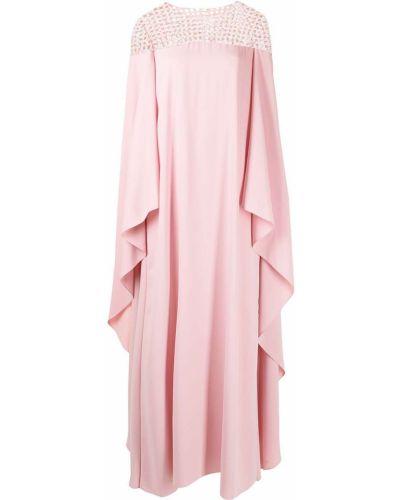 Розовое вечернее платье прозрачное с пайетками Carolina Herrera