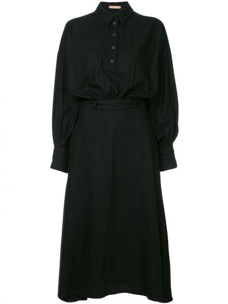Шелковое классическое платье макси с воротником с длинными рукавами Nehera