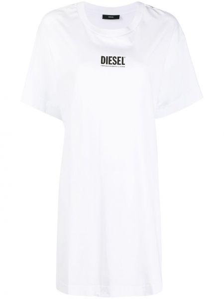 Хлопковое белое платье-рубашка оверсайз Diesel