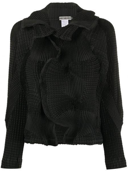 Хлопковый черный пиджак с воротником Issey Miyake