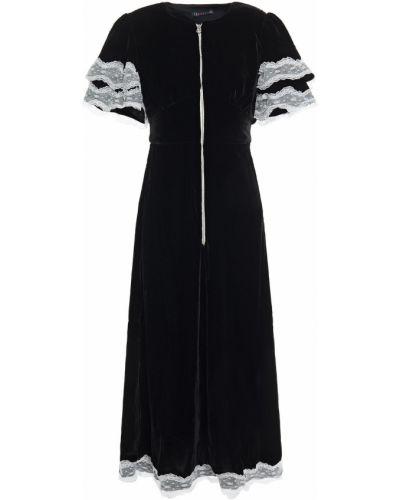 Czarna sukienka midi koronkowa z wiskozy Alexachung