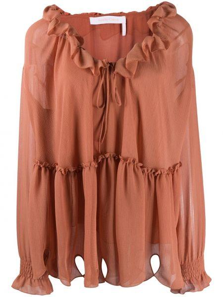 Różowa bluzka z falbanami z wiskozy See By Chloe