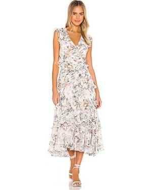 Платье миди шифоновое с оборками Bardot