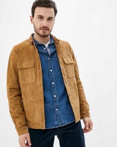 Кожаная куртка - коричневая Lacoste
