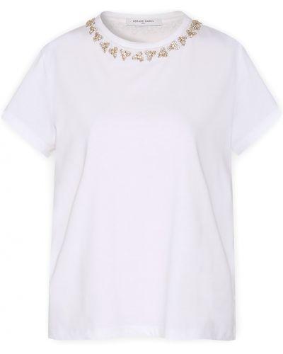 Хлопковая белая футболка с короткими рукавами Gerard Darel