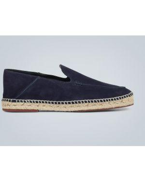 Синие кожаные кожаные туфли на каблуке со складками Loro Piana