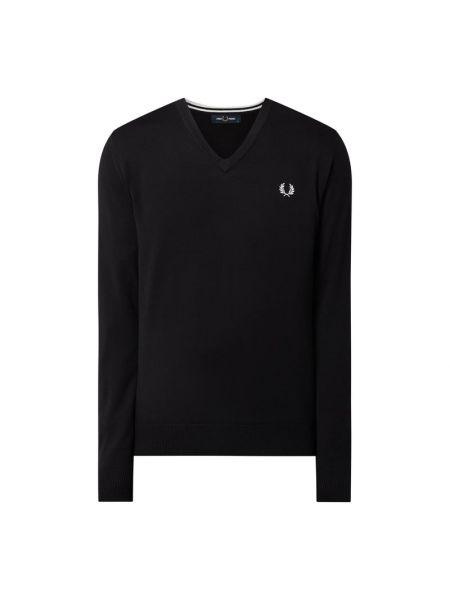 Prążkowany czarny sweter wełniany Fred Perry