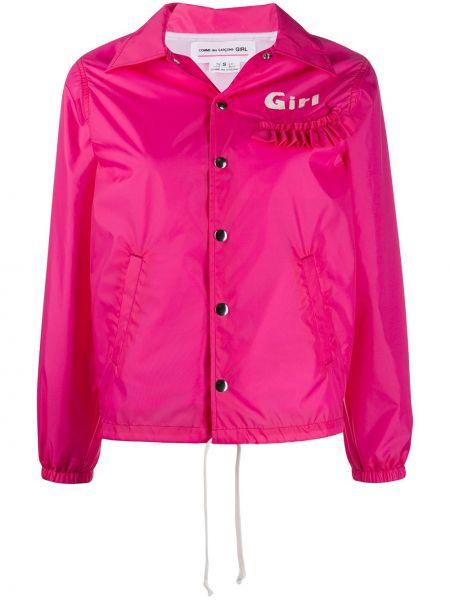 Розовая длинная куртка с манжетами Comme Des Garçons Girl