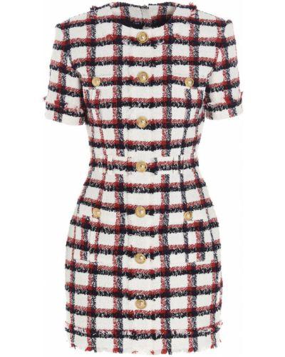 Czerwona sukienka midi boho krótki rękaw Balmain