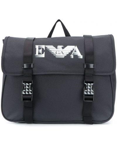Синий рюкзак с карманами на молнии Emporio Armani Kids