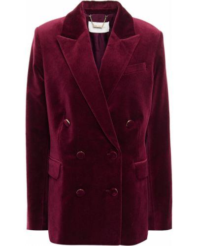 Бархатный красный пиджак двубортный Zimmermann