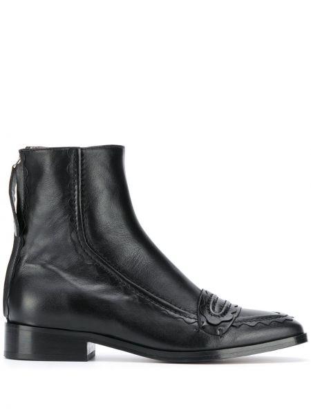 Кожаные черные ботинки на каблуке на молнии на каблуке Alexa Chung