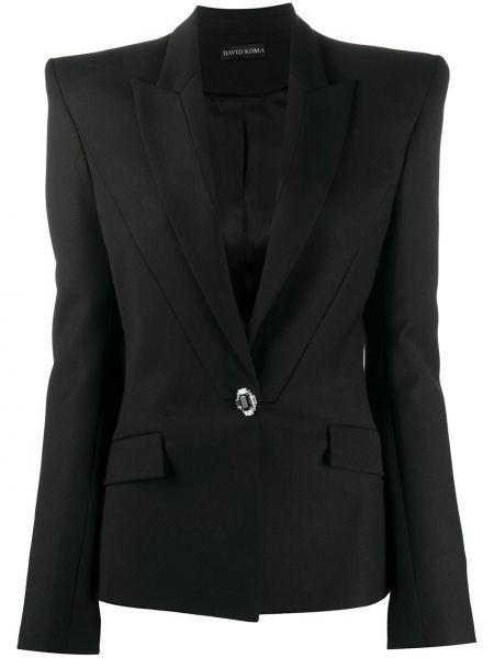 Шерстяной черный классический пиджак с карманами David Koma