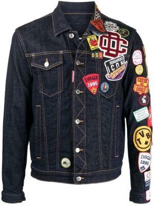 Синяя джинсовая куртка с нашивками с воротником Dsquared2