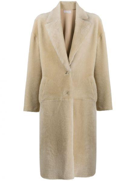 Прямое кожаное длинное пальто с воротником Inès & Maréchal