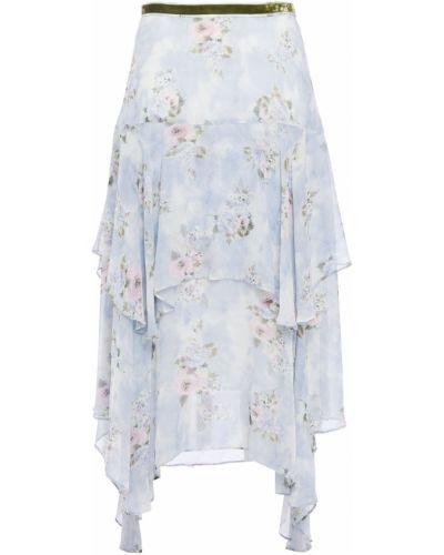 Шелковая юбка миди - синяя Loveshackfancy