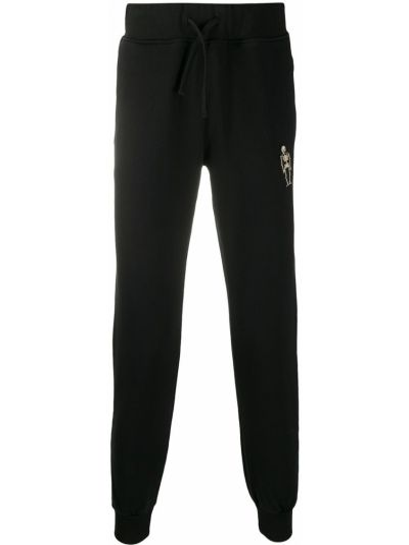Czarne spodnie bawełniane z haftem Hydrogen