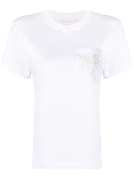 Хлопковая с рукавами белая футболка See By Chloé