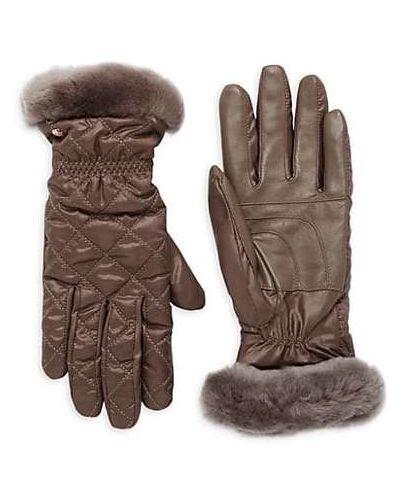 Теплые кожаные перчатки с манжетами Ugg