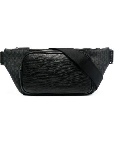 Черная кожаная поясная сумка на молнии Boss Hugo Boss