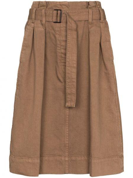 Bawełna bawełna brązowy pofałdowany spódnica plisowana Lemaire