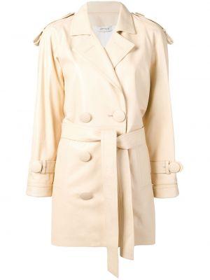 Beżowy płaszcz z paskiem z wiskozy Attico