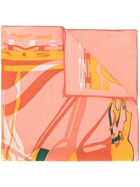 Jedwab różowy szalik przycięte Hermes