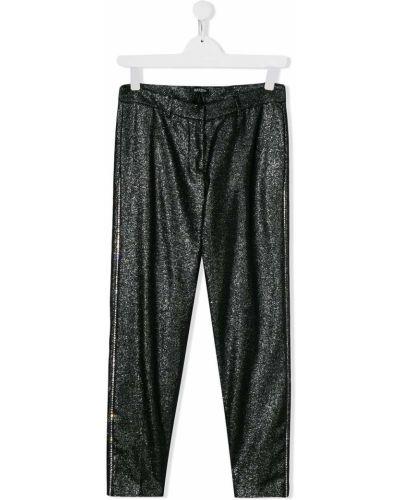 Czarne legginsy z paskiem wełniane Balmain Kids